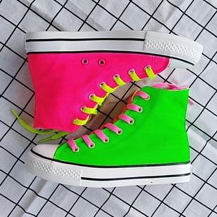 高帮帆布鞋女软妹休闲鞋荧光糖果色拼色手绘鞋平跟学生鞋明星同款图片