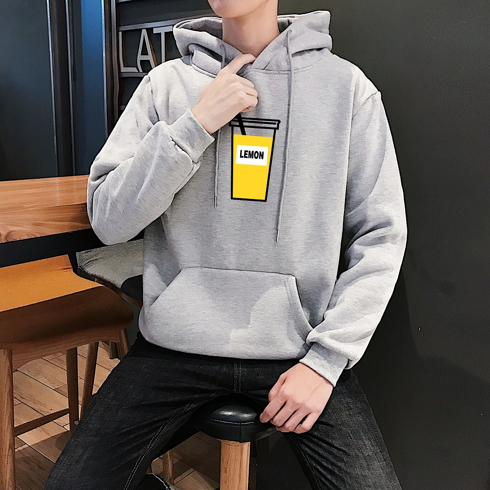 加绒男卫衣连帽春秋款韩版学生嘻哈外套潮流套头加厚抓绒男生帽衫