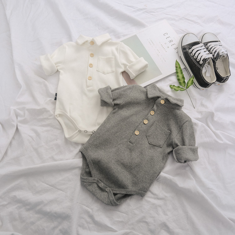 婴儿三角哈衣长袖polo连体衣男宝宝翻领包屁衣衬衫春装打底哈衣