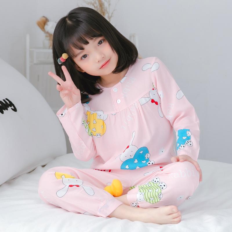 夏季儿童棉绸睡衣女童宝宝薄款长袖绵绸小女孩空调家居服睡衣套装