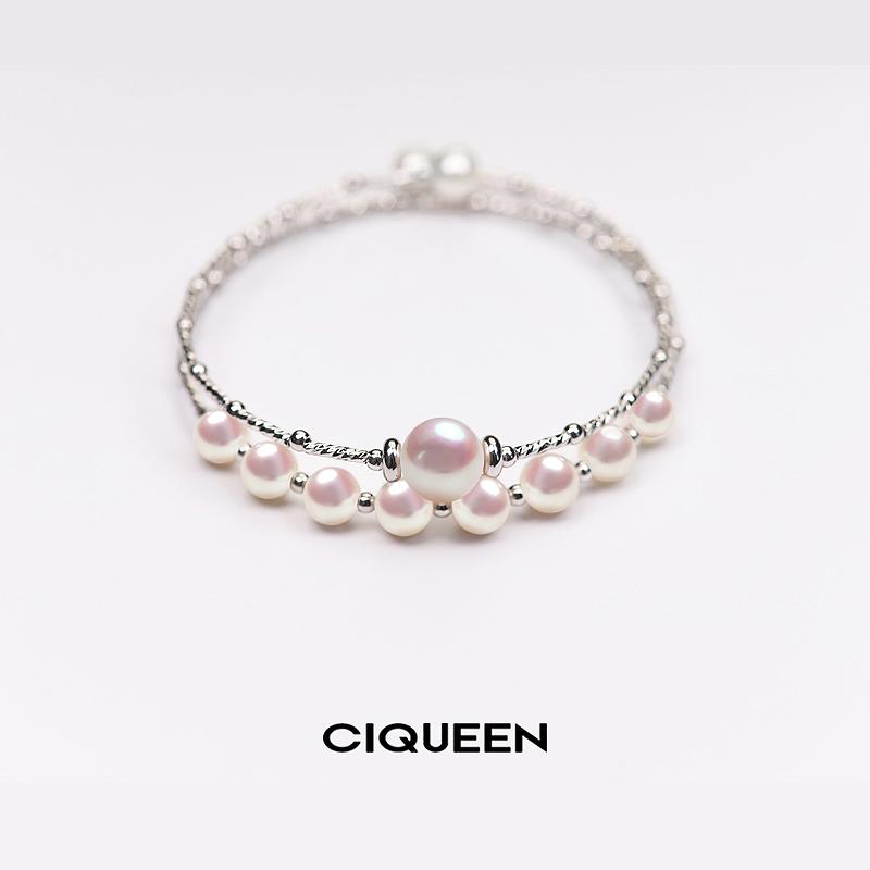 茜芊新品天然淡水珍珠手镯女款925纯银双层手链开口多层气质时尚
