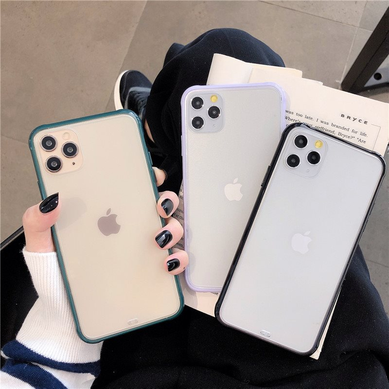 简约糖果色边框苹果11pro max手机壳iPhone7/8plus全包防摔XR男女