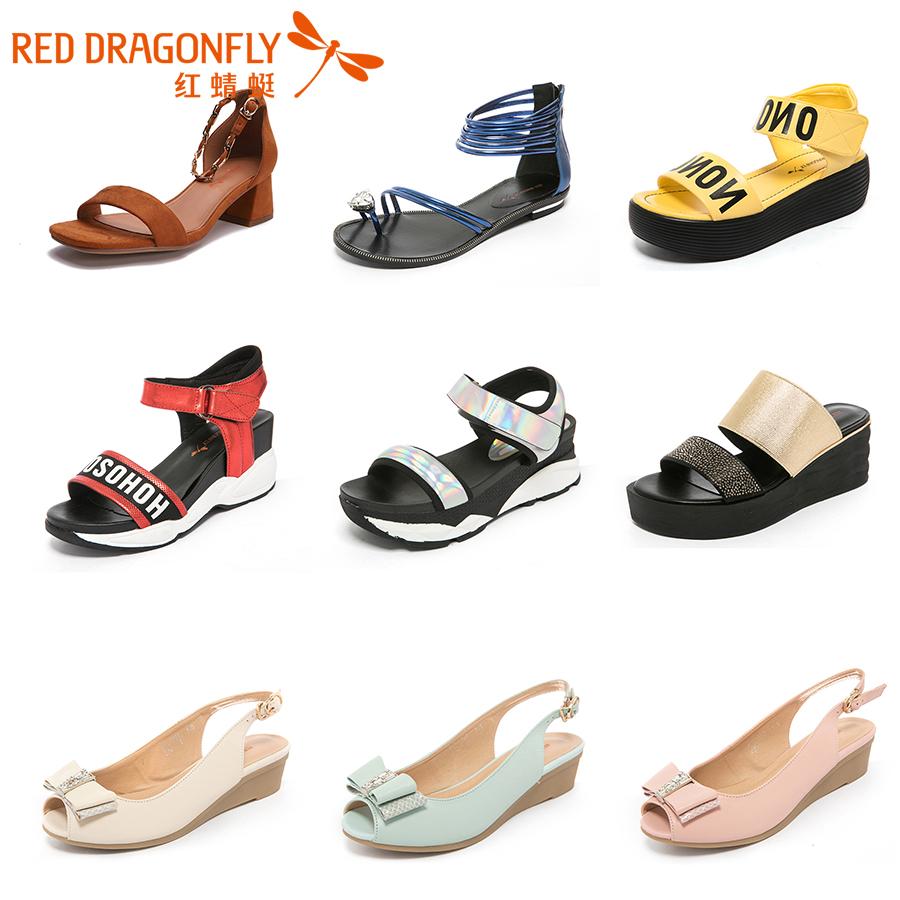 红蜻蜓女凉夏季魔术贴露趾平底厚底女鞋