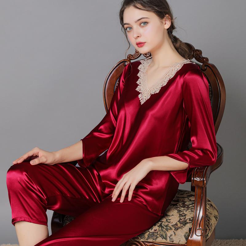 睡衣女春秋季薄款冰丝性感中年夏季酒红色冰雪丝绸家居服两件套装