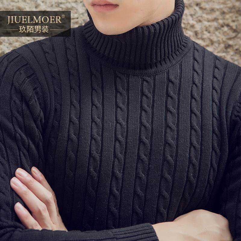 冬季黑色高领毛衣男士加厚针织衫修身韩版青年长袖纯棉毛线衫日系