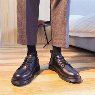 夏季英伦风黑色圆头马丁靴潮男士青年低帮漆皮大码美式休闲皮鞋男
