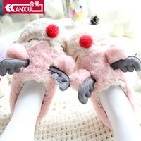 含秀秋冬新品居家棉鞋女棉拖鞋包跟防滑可爱卡通小鹿保暖情侣棉拖