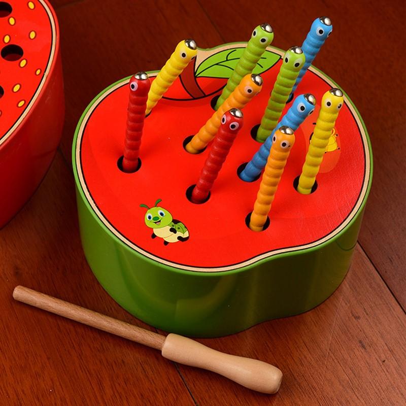 儿童早教益智钓鱼玩具磁性抓虫子游戏宝宝1-23-5周岁趣味捉毛毛虫