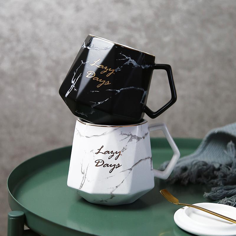 简约北欧风陶瓷杯子家用文艺马克杯带盖勺办公室早餐杯ins咖啡杯