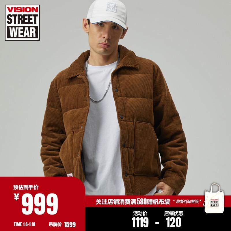 VISION STREET WEAR20秋冬常规版灯芯绒贴袋中长款羽绒服