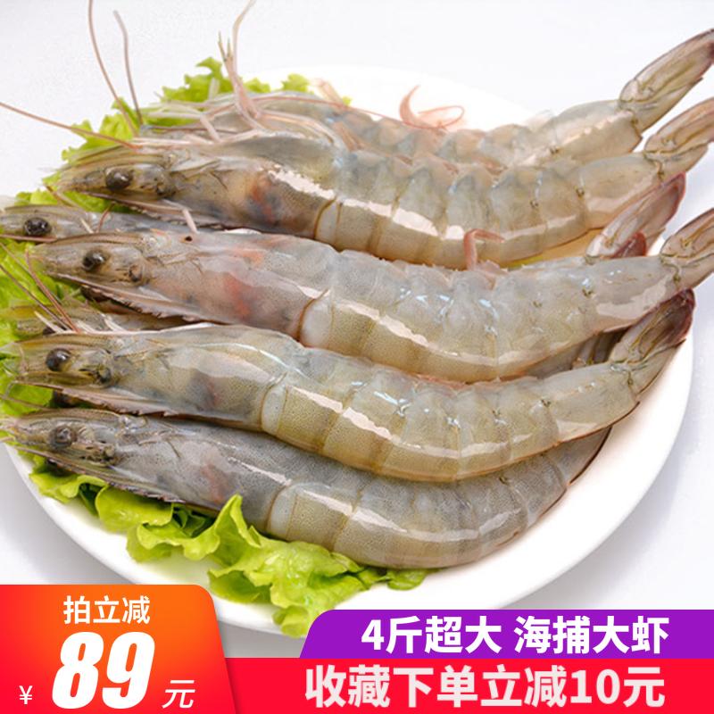 青岛大虾超大4斤基围虾鲜活海捕白虾海鲜水产新鲜野生活虾冷冻