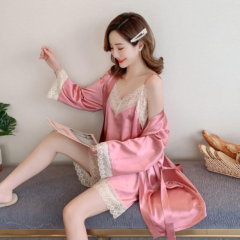 睡衣女夏季冰丝性感蕾丝吊带薄款仿真丝绸韩版学生家居服三件套装
