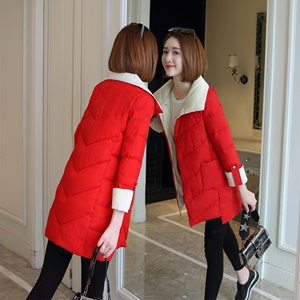 Cotton jacket women 2019 new Korean winter long section cotton jacket color thickening Slim bread jacket cotton jacket women's jacket