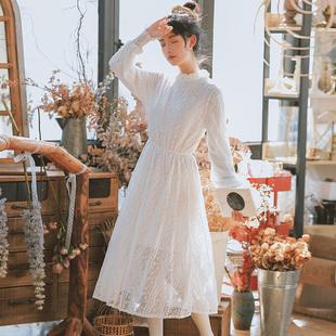 春夏森系文艺蕾丝仙女长袖白色连