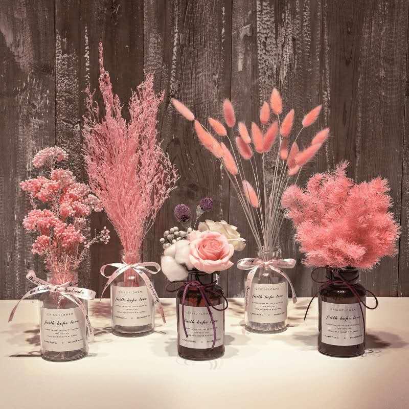 满天星干花带花瓶大束干花永生花家居摆设卧室客厅小清新装饰摆件