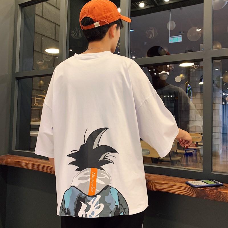 夏季五分袖男短袖t恤韩版潮流中袖悟空动漫七分半袖学生宽松体恤