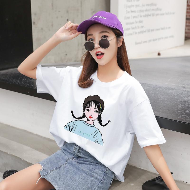 短袖t恤女2019新款夏季潮韩版宽松大码纯棉女装半袖短款上衣女t恤