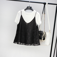 春夏季女装圆领qi4袖冰丝Tgo蕾丝两件套娃娃衫上衣有大码