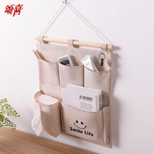 强挂款储hi1袋棉布艺he悬挂储物袋多层壁挂整理袋