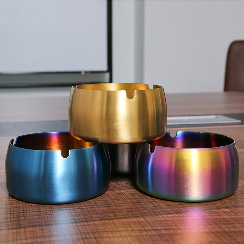 创意个性潮流不锈钢烟灰缸北欧ins家用大号客厅茶几金属防摔烟缸