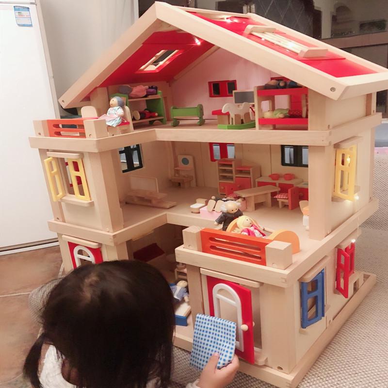 diy小屋女孩玩具礼物实木儿童益智玩具房子过家家公主别墅娃娃屋