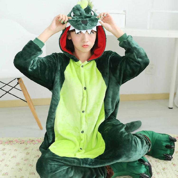 恐龙睡衣成年可爱亲子装图案男孩成年人冬天连体纯棉动漫保暖薄款