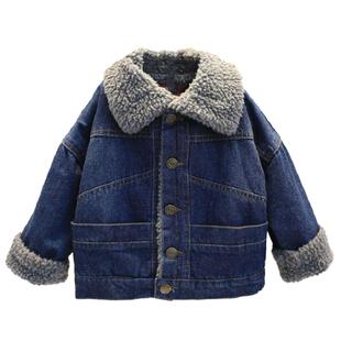 儿童男童外套个性潮流女宝宝小外套男宝宝帅气外套加绒牛仔洋气冬