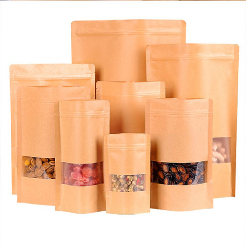 【100个】牛皮纸袋开窗自封自立袋干果零食食品包装袋子收纳加厚