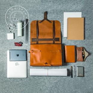 LeWhisper手工头层牛皮设计师简约版多功能通勤公文包邮差包男女图片