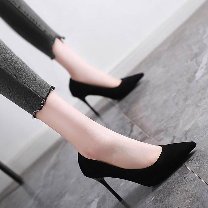 小黑鞋女职业高跟鞋细跟尖头上班工作正装百搭礼仪软底简约单鞋夏