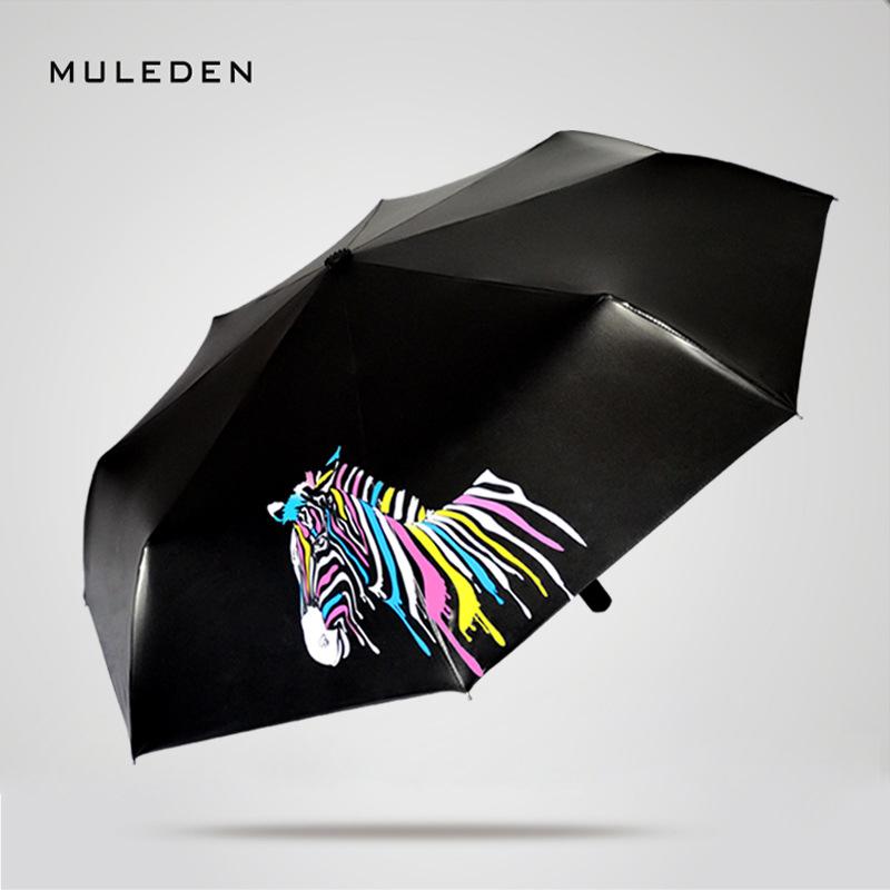 创意魔术个性遇水变色斑马订制雨伞折叠三折伞黑胶遮阳伞umbrella