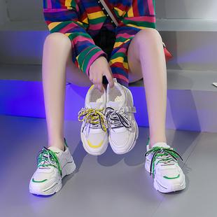 港风时尚运动小白鞋女秋夏季透气单鞋百搭学生平休闲松糕底女鞋