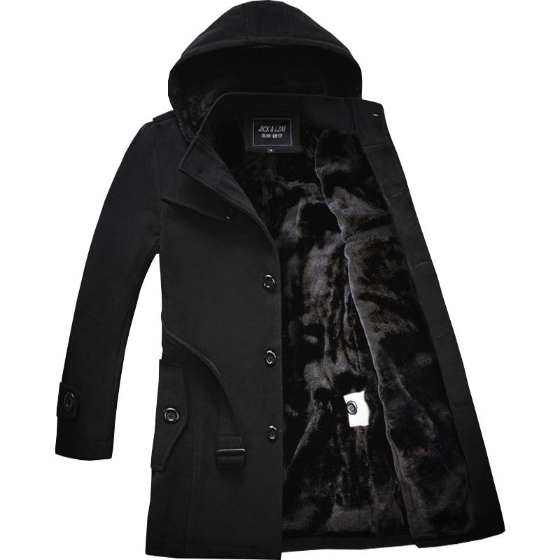 风衣男冬季中长款保暖韩版加绒加厚冬天北方毛呢外套男士呢子大衣
