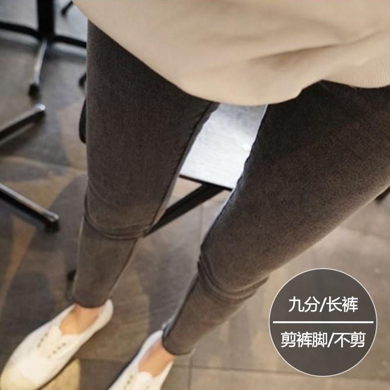 高腰牛仔裤女烟灰色高弹力显瘦长裤胖mm大码2019秋装九分小脚裤子