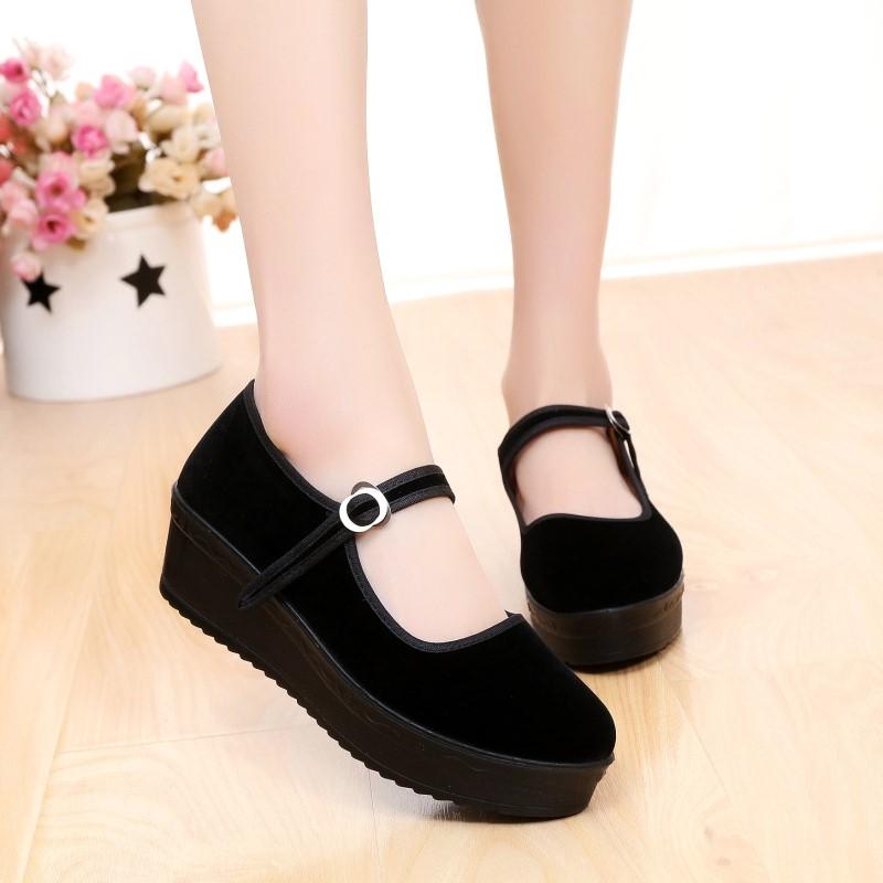厚底老北京布鞋女鞋中跟防滑单鞋酒店职业女士工作鞋坡跟黑色布鞋
