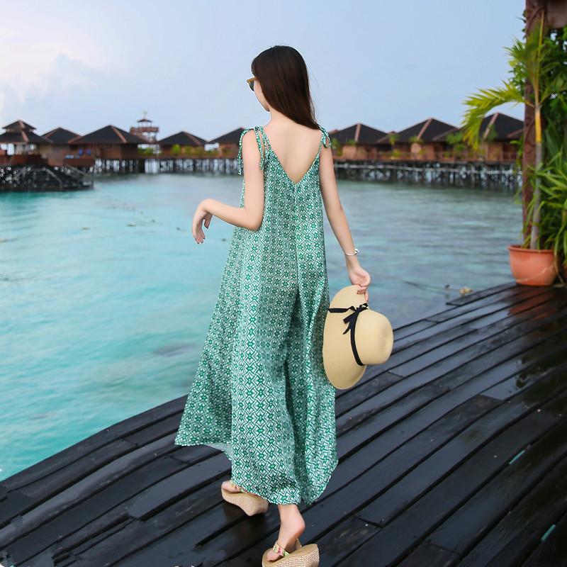 连体裤女夏海边度假2020新款大码宽松气质垂感吊带阔腿裤休闲裙裤