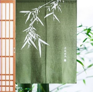 Chinese style fabric curtain transfer curtain home cotton linen half curtain wind hanging curtain tea house water bar partition custom