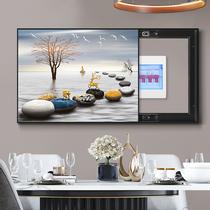 现代中式客厅装饰画办公室实木书房有框挂画千里江山图国画山水画