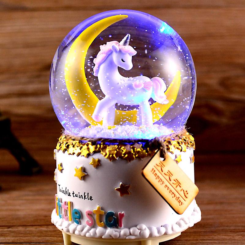 独角兽水晶球音乐盒八音盒自动飘雪圣诞节生日礼物女生儿童女孩