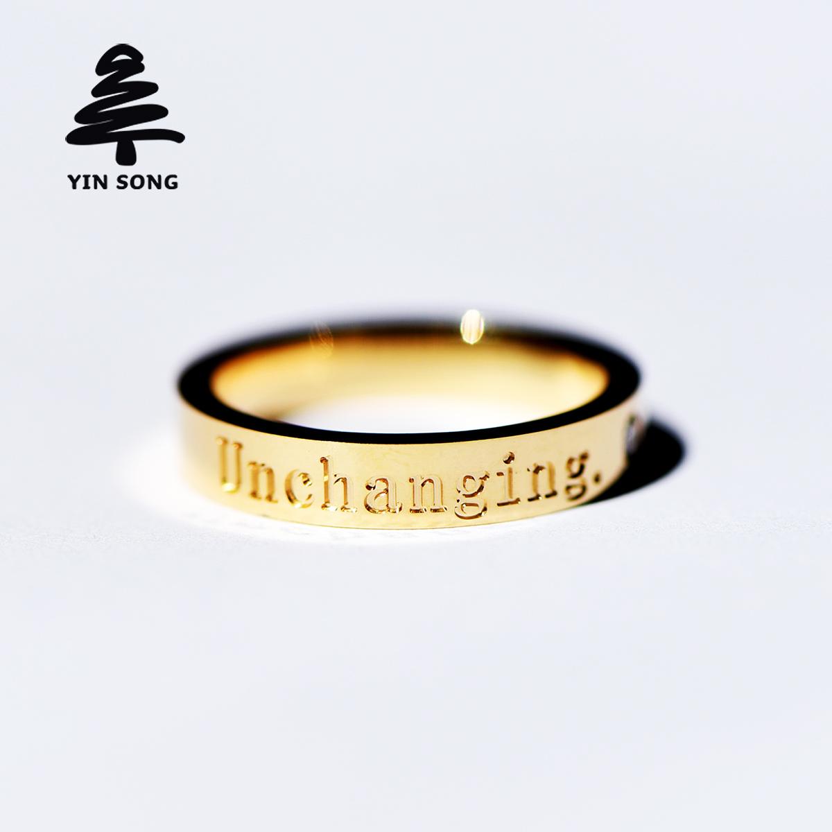 私人订制CNC字母戒指 Au750镶钻戒指18K金玫瑰金结婚男女情侣对戒