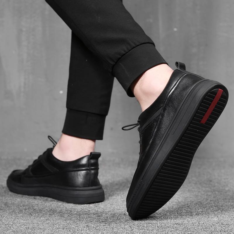 斯米尔男鞋冬季潮鞋韩版懒人一脚蹬真皮板鞋男运动休闲皮鞋小黑鞋