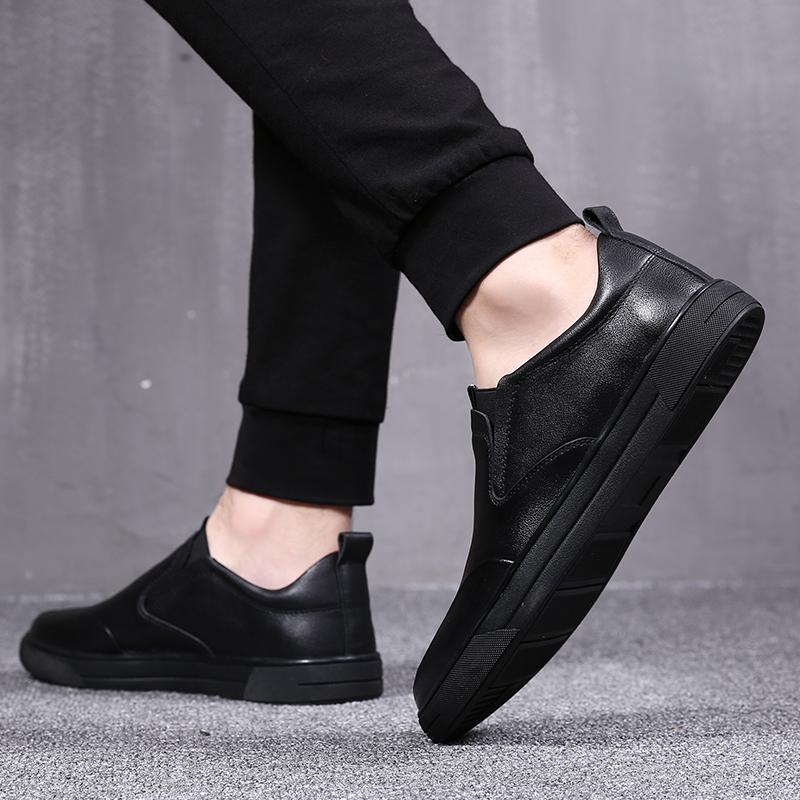 斯米尔男鞋冬季潮鞋乐福鞋英伦一脚蹬豆豆皮鞋真皮懒人男士休闲鞋