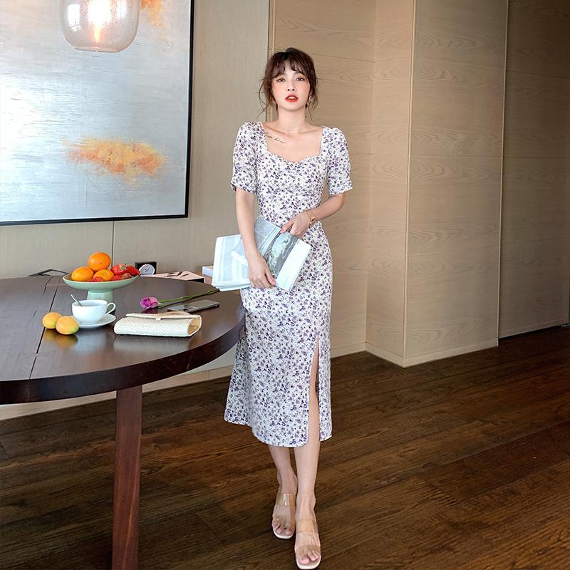 岛歌夫人法式复古香芋紫色的连衣裙碎花裙雪纺气质长款长裙子女夏