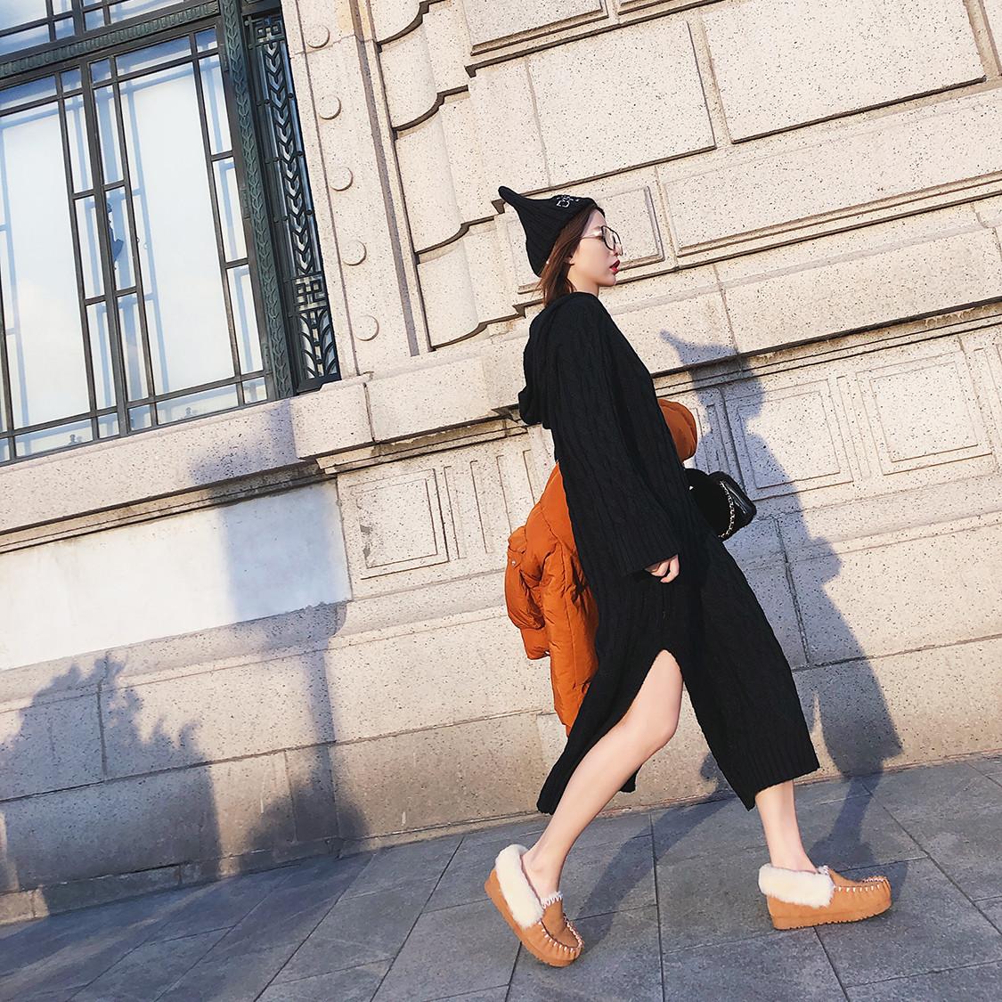 【孙小念】2017秋冬新款连帽立体麻花长款连衣裙女开叉长袖毛衣裙