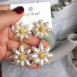 South Korea 925 Silver Needle Dongdaemun Super Fairy Flower Ear Jewelry Temperament Swarovski Cute Sunflower Earring Earring
