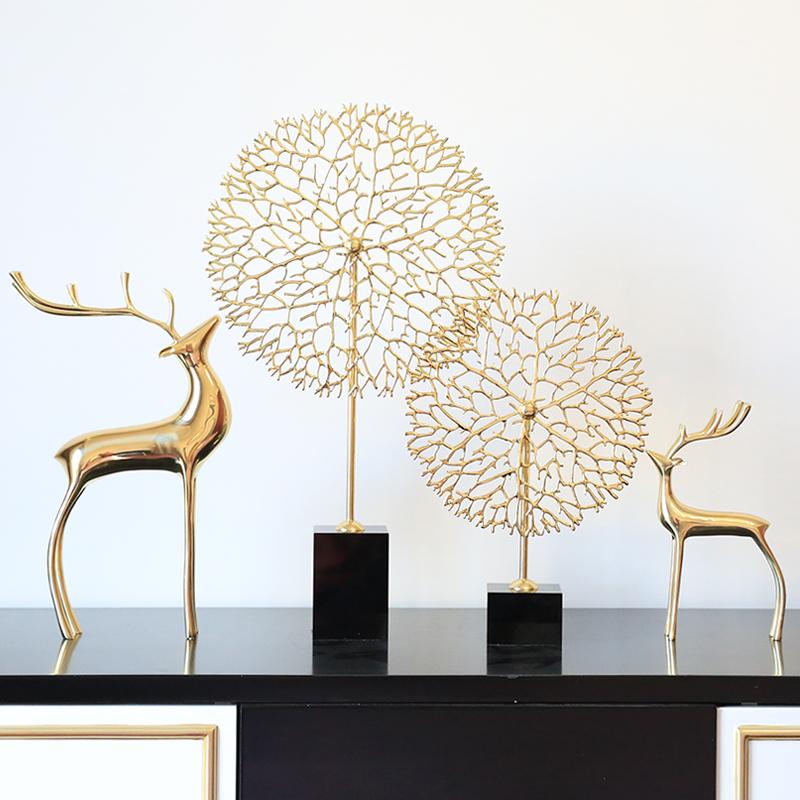 全铜鹿客厅摆件美式轻奢简约欧式样板房纯铜玄关酒柜工艺品装饰品