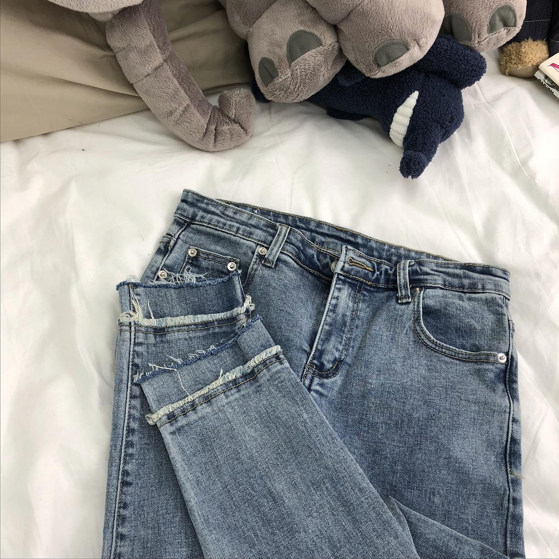 小明bene 夏季韩国复古纯色浅蓝色九分牛仔裤男修身小脚裤男