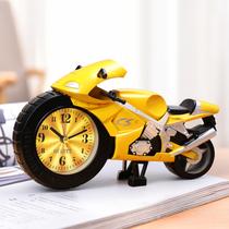 摩托車小鬧鐘學生用男孩專用兒童時鐘卡通創意可愛迷你鬧鈴床頭鍾