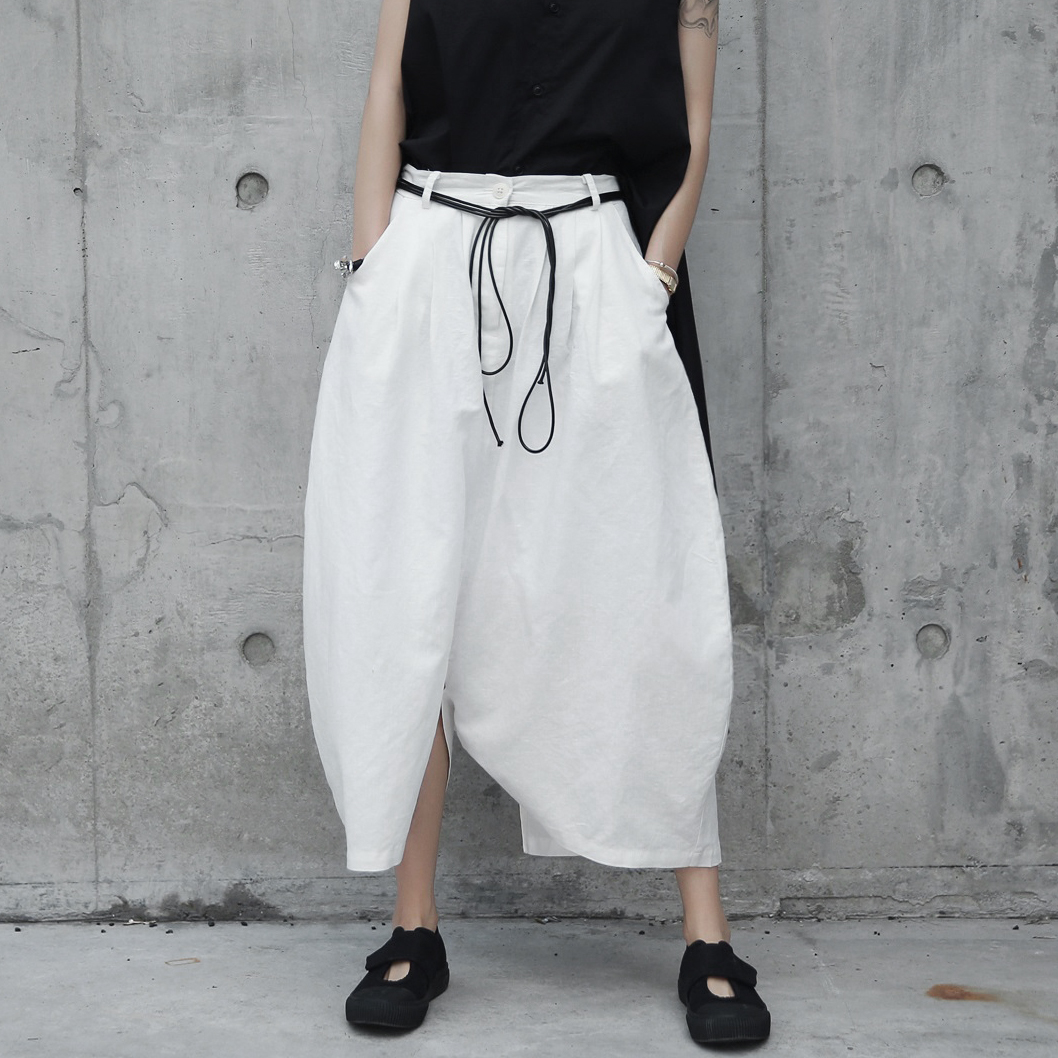 SIMPLE BLACK 暗黑日系原创白色圆弧形麻料宽松休闲裤裙