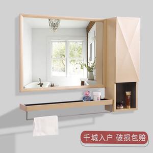 Aluminum bathroom mirror wall hanging toilet toilet vanity mirror bathroom mirror with shelf cabinet bathroom mirror cabinet